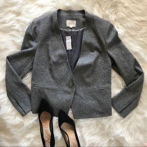 Loft Ann Taylor grey speckled blazer jacket 14